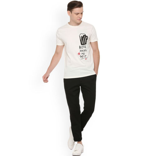People Men Off-White Printed Round Neck T-shirt