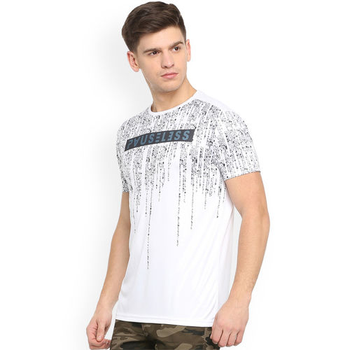 People Men White Printed Round Neck T-shirt
