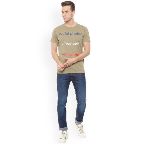 People Men Beige Printed Round Neck T-shirt