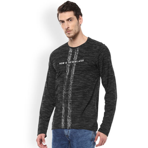 People Men Black Solid Round Neck T-shirt