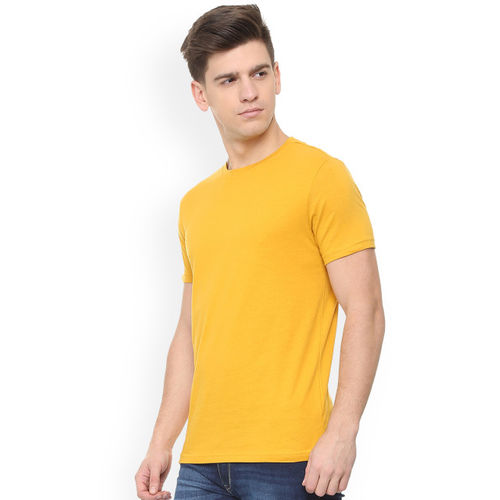 People Men Yellow Solid Round Neck T-shirt