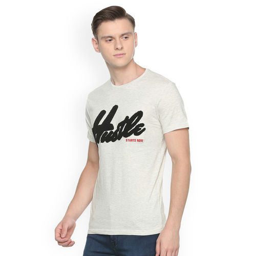 People Men Cream-Coloured Printed Round Neck T-shirt