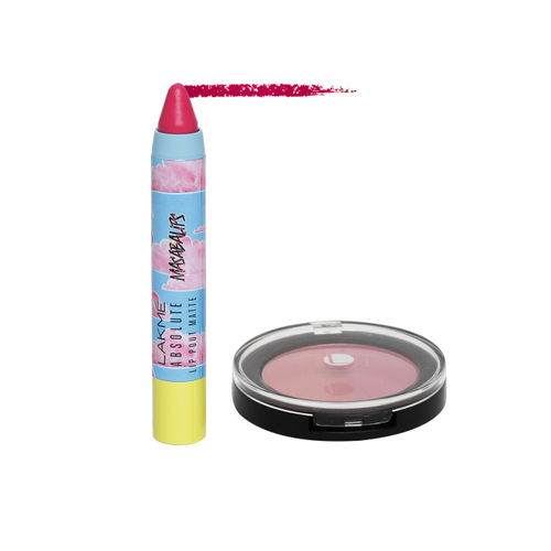 Lakme Absolute Face Stylist Pink Blush Duos & Absolute Bubble Pink Lip Pout Matte Masaba Lips 3.7 g