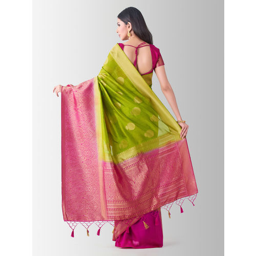 MIMOSA Green & Pink Art Silk Woven Design Kanjeevaram Saree