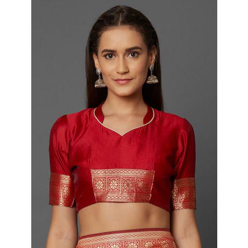 Mitera Red & Gold-Toned Silk Blend Woven Design Kanjeevaram Saree