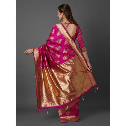 Mitera Pink Silk Blend Woven Design Kanjeevaram Saree