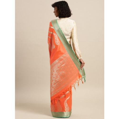 Varkala Silk Sarees Peach-Coloured Silk Blend Striped Kanjeevaram Saree
