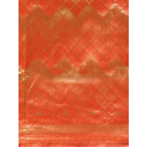 Aradhya Orange & Gold-Coloured Silk Blend Woven Design Kanjeevaram Saree