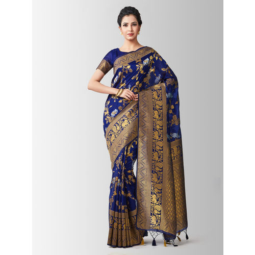 MIMOSA Navy Blue & Gold-Toned Art Silk Woven Design Kanjeevaram Saree