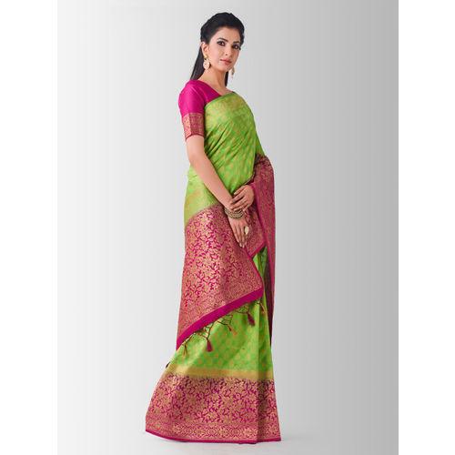 MIMOSA Lime Green & Pink Art Silk Woven Design Kanjeevaram Saree