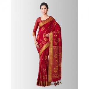 MIMOSA Maroon Art Silk Woven Design Kanjeevaram Saree