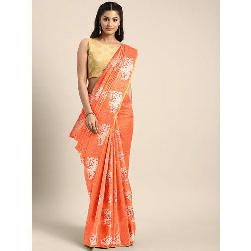 Aradhya Orange & Pink Silk Blend Woven Design Kanjeevaram Saree