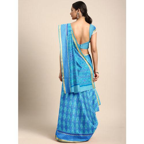 The Chennai Silks Classicate Blue Pure Cotton Printed Chanderi Saree
