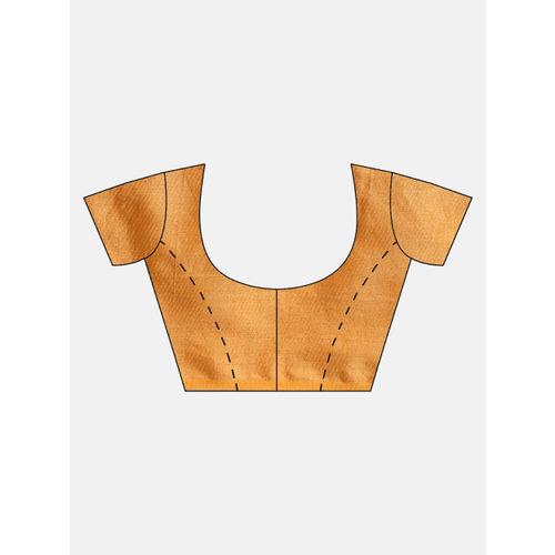 FIROZA Beige & Golden Woven Design Chanderi Saree