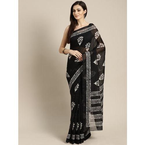FIROZA Black & Off-White Printed Chanderi Saree