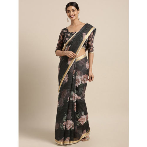 Kvsfab Black Printed Chanderi Cotton Blend Saree