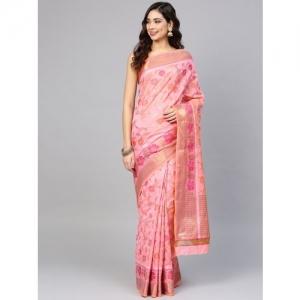 Chhabra 555 Pink & Golden Handloom Handwoven Chanderi Saree