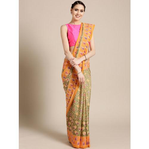 Saree mall Green & Mustard Yellow Printed Ikat Saree