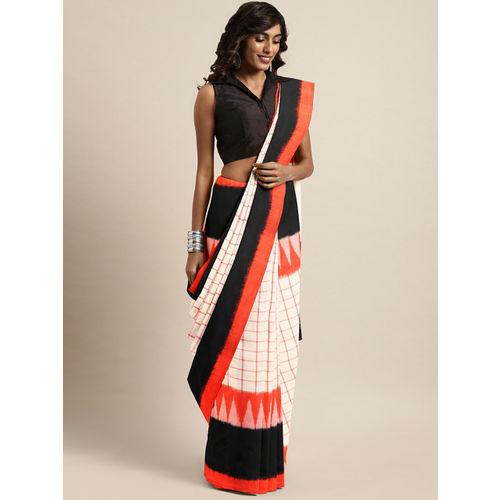 The Chennai Silks Beige Pure Pochampally Cotton Checked Ikat Saree