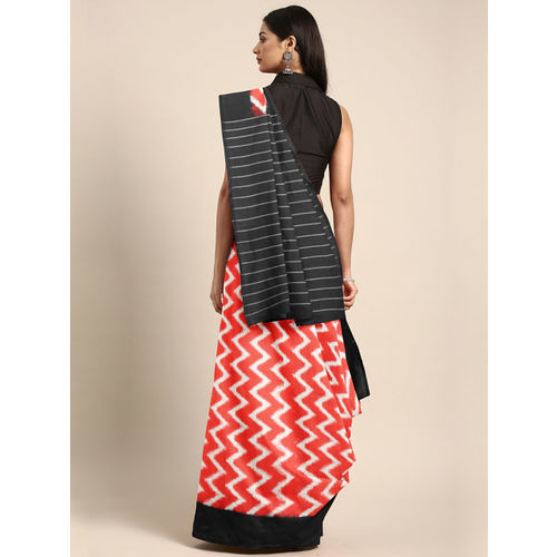TThe Chennai Silks Classicate Orange & Black Pure Cotton Printed Ikat Pochampally Saree