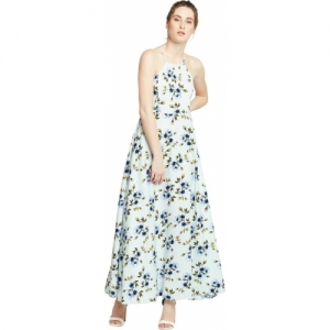 Berrylush White Synthetic Floral Fit and Flare Maxi Dress
