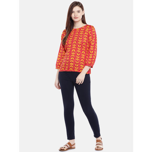 Global Desi Women Red & Yellow Printed Styled Back Top