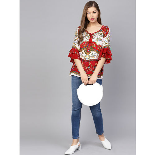 Rain & Rainbow Women Red & White Printed A-Line Top