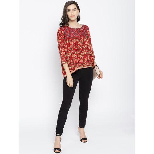 Sangria Women Red & Orange Printed High-Low Top