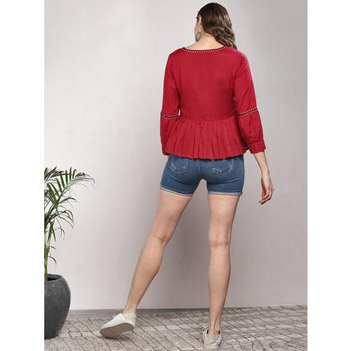 Sangria Women Red Blouson Top