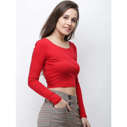 Cation Women Red Solid Fitted Cropped Top