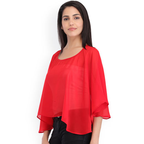 Cottinfab Women Red Solid Poncho Top