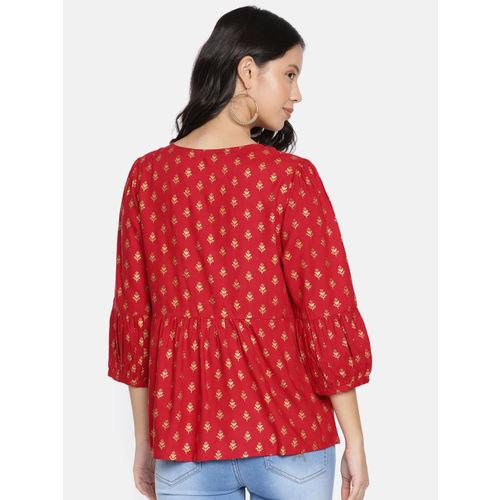 Global Desi Women Red Printed Regular Top
