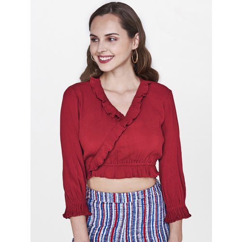 Global Desi Women Red Blouson Crop Top