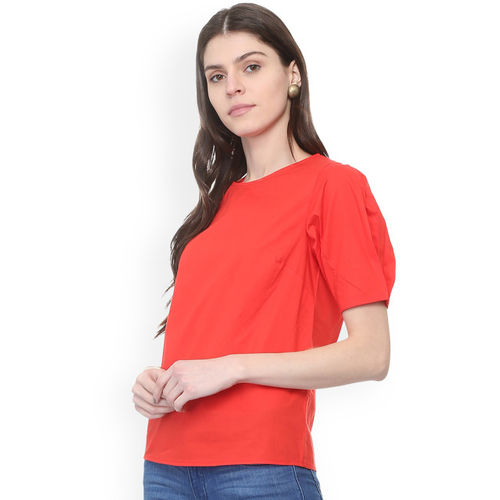 People Women Red Solid Top
