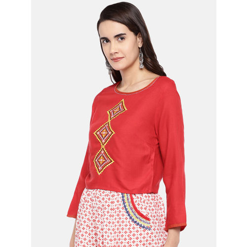 Globus Women Red Self Design Top