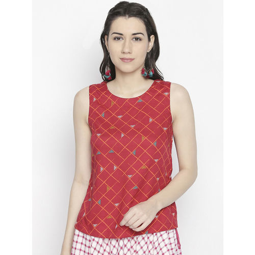 AKKRITI BY PANTALOONS Women Red Checked Top