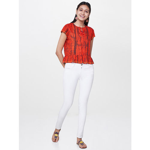 Global Desi Women Red Printed Top