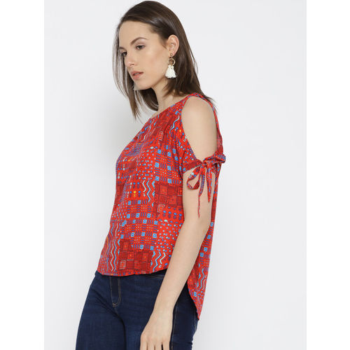 Global Desi Women Red Printed High-Low Top