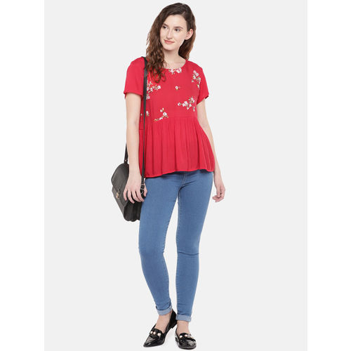 Globus Women Red Embroidered Empire Top