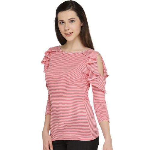 plusS Women Red & Off-White Striped Ruffled Fitted Top