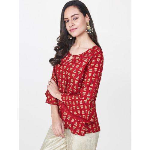Global Desi Women Red Printed Top