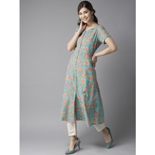 HERE&NOW Women Blue & Pink Printed A-line Kurta