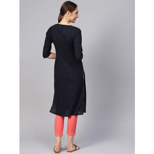 Jaipur Kurti Women Navy Blue Yoke Design Straight Kurta