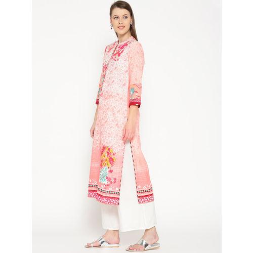 Biba Women Peach-Coloured & White Printed Straight Kurta