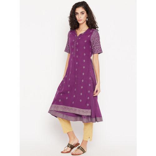 Biba Women Purple Woven Design Layered A-Line Kurta