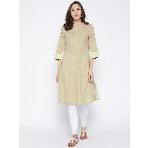 Biba Women Beige Self-Design Straight Kurta