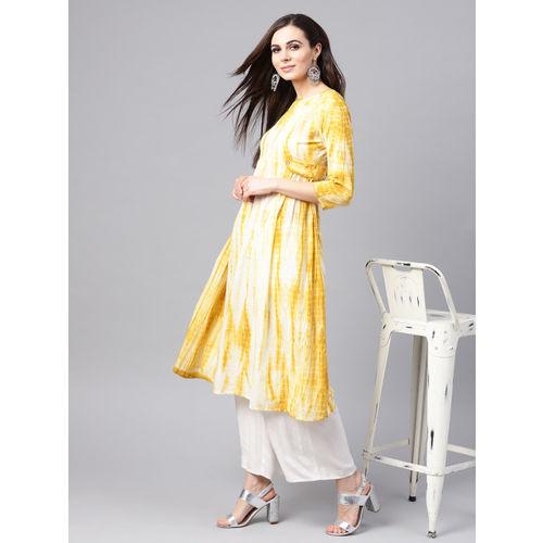 SASSAFRAS Women Mustard Yellow & White Dyed A-Line Kurta