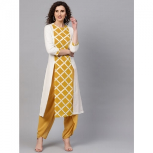 SASSAFRAS Women Off-White & Mustard Yellow Checked A-Line Kurta