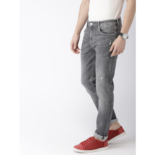 Tommy Hilfiger Men Grey Skinny Fit Mid-Rise Mildly Distressed Stretchable Jeans
