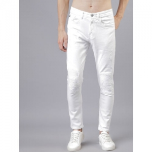 LOCOMOTIVE Men White Tapered Fit Mid-Rise Mildly Distressed Stretchable Jeans